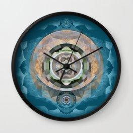 Mandala Embroidery Boho Meditation Sacred Geometry Print Wall Clock