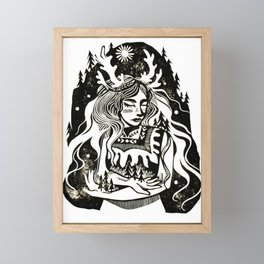 Nymph of the Forest Linocut Block Print Fairy-tale Art Framed Mini Art Print