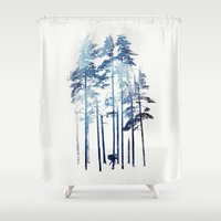 winter Shower Curtains featuring Winter Wolf by Robert Farkas