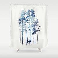 wolf Shower Curtains featuring Winter Wolf by Robert Farkas