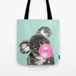 Playful Koala Bear with Bubble Gum in Green Tote Bag