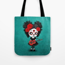 Day of the Dead Girl Playing Albanian Flag Guitar Tote Bag