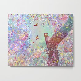 Curious Woodpecker and Friends Metal Print