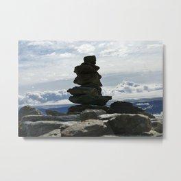 Mountain Rock Stacking Metal Print
