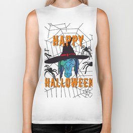 Witch Happy Halloween white Biker Tank
