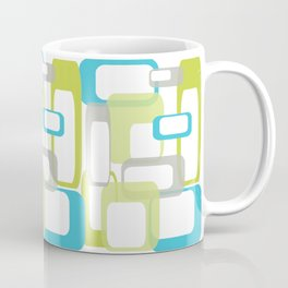 Mid-Century Modern Rectangle Design Blue Green and Gray Coffee Mug