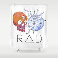 indie Shower Curtains featuring RAD Indie Skull/Sun/Moon by Pip & Fugu