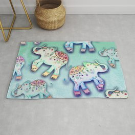 ELEPHANT PARTY MINT Rug