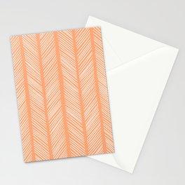 Cantaloupe Herringbone 2 Stationery Cards