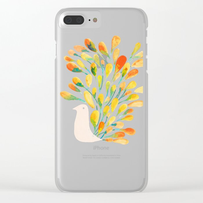 Watercolor Peacock Clear iPhone Case