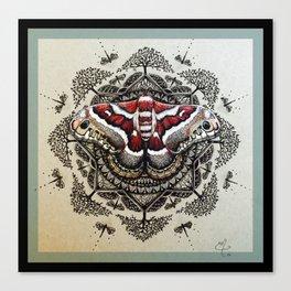 Red Moth Mandala With Border Canvas Print