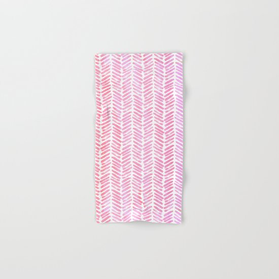 Handpainted Chevron pattern-small- pink watercolor on white Hand & Bath Towel