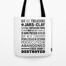 Jars of Clay. 2 Corinthians 4:7-9. Tote Bag