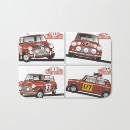 Monte Carlo Rally Mini Coopers Bath Mat
