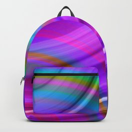 Fluttering curved semicircles with a crisp fuchsia accent and all the colors of the rainbow. Backpack