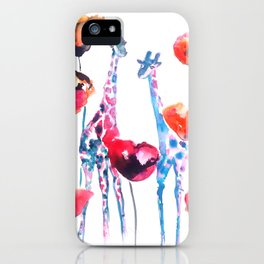 Giraffes and Poppies iPhone Case