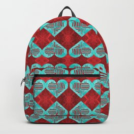 Abstract Turquoise and Bright Red Diamond Hearts Backpack