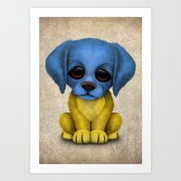 Cute Puppy Dog with flag of Ukraine Art Print