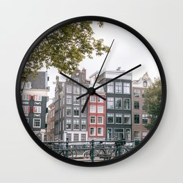 City Centre of Amsterdam, the Netherlands || Colourful travel photography wall art Cityscape Buildings Bridge Architecture Wall Clock