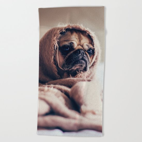 Cute Little Pug Beach Towel