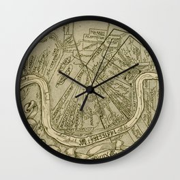 Vintage Map of New Orleans Louisiana (1919) Wall Clock