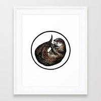otter Framed Art Prints featuring Otter by Natalie Toms Illustration