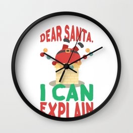 Dear Santa I Can Explain Santa Claus in Chimney Christmas Fun Wall Clock