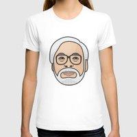 hayao miyazaki T-shirts featuring Hayao Miyazaki Portrait - White by Cedric S Touati