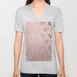 Rose Gold Sparkles on Pretty Blush Pink with Hearts Unisex V-Neck