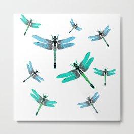 "BLUE DRAGONFLIES ""SPRING SONG"" ART Metal Print"