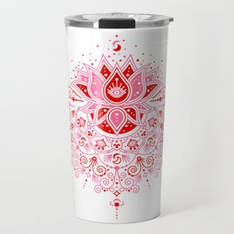 Lotus Blossom Mandala – Red & Pink Palette Travel Mug