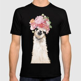 Llama with Flower Crown in Pink T-shirt