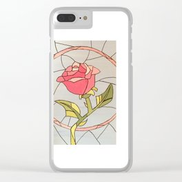 Stained Glass Window Rose Clear iPhone Case