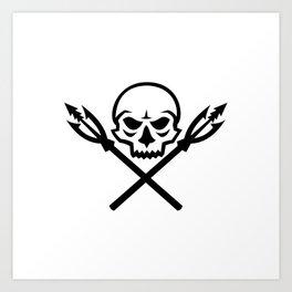 Human Skull Crossed Fishing Spear Mascot Art Print