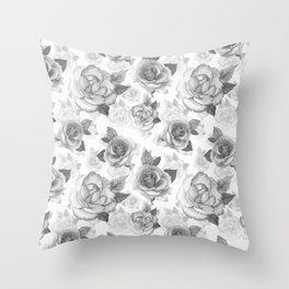 Hand painted black white watercolor roses floral pattern Throw Pillow