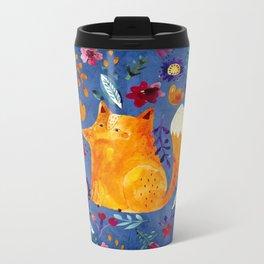 The Smart Fox in Flower Garden Metal Travel Mug