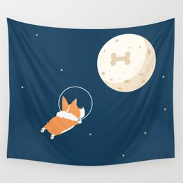 Fly to the moon _ navy blue version Wall Tapestry