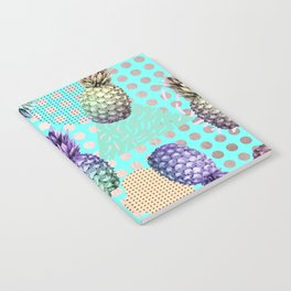 Pineapple Summer Rainbow Rose Gold Notebook