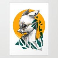 Chinese Water Deer Art Print