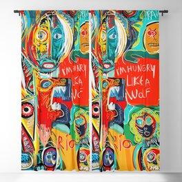 I'm hungry like a wolf Street Art Graffiti Blackout Curtain