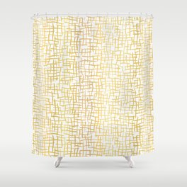 Luxe Gold Woven Burlap Texture Hand Drawn Vector Pattern Background Shower Curtain