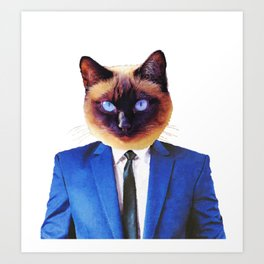 Funny Boss Cat in Blue Suit Art Print