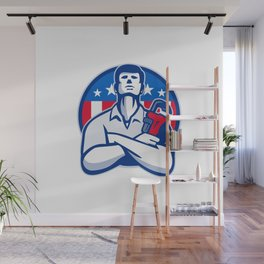 Plumber With Monkey Wrench American Flag retro Wall Mural