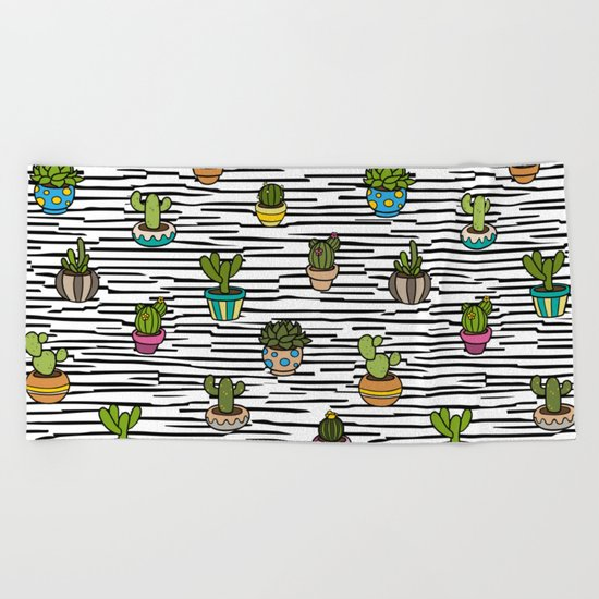 Cacti Pattern Beach Towel