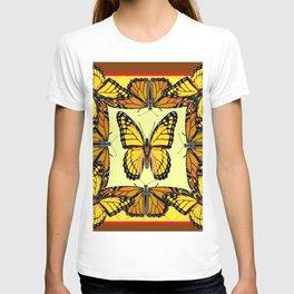 ORIGINAL DESIGN  ABSTRACT OF YELLOW & ORANGE MONARCH BUTTERFLIES BROWN ART T-shirt