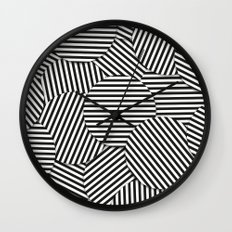Striped Disc Pattern - Black and White Wall Clock