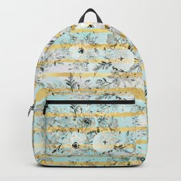 Cute watercolor gray floral and stripes design Backpack