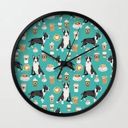 Bull Terrier coffee latte cafe dog breed cute custom pet portrait pattern Wall Clock