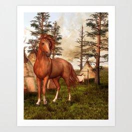 Native American Horse Art Print