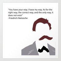 nietzsche Art Prints featuring Nietzsche-Minimalist by Bel17